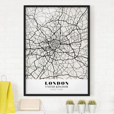 Bild mit Rahmen - Stadtplan London - Klassik - Hochformat 3:4