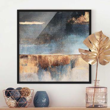 Bild mit Rahmen - Abstraktes Seeufer in Gold - Quadrat 1:1