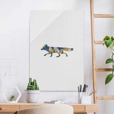 Glasbild - Fuchs in Blau und Gelb - Hochformat