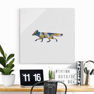 Glasbild - Fuchs in Blau und Gelb - Quadrat