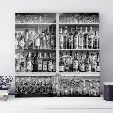 Glasbild - Bar Schwarz Weiß - Quadrat 1:1