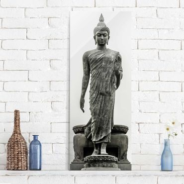 Glasbild - Buddha Statue - Panorama Hoch