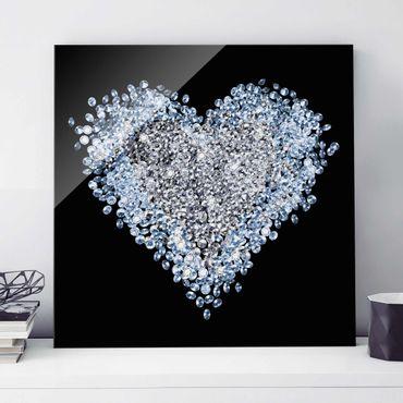 Glasbild - Diamant Herz - Quadrat 1:1