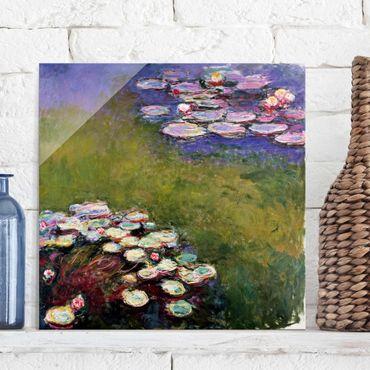 Glasbild - Kunstdruck Claude Monet - Seerosen - Impressionismus Quadrat 1:1