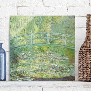 Glasbild - Kunstdruck Claude Monet - Seerosenteich und japanische Brücke - Impressionismus Quadrat 1:1