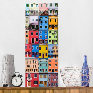Glasbild - Venezianische Häuser - Panorama Hoch