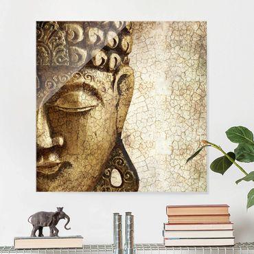 Glasbild - Vintage Buddha - Quadrat 1:1