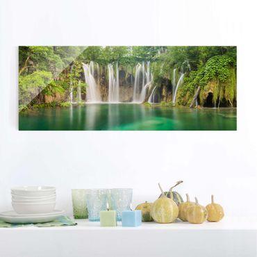 Glasbild - Wasserfall Plitvicer Seen - Panorama Quer