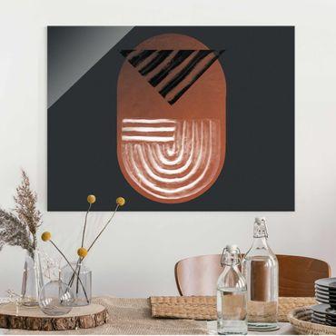 Glasbild - Indigene Ton Geometrie auf Dunkelgrau - Querformat