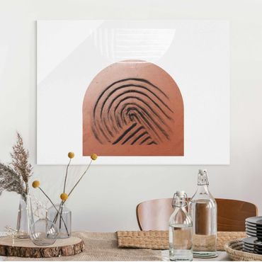 Glasbild - Indigene Ton Geometrie - Querformat