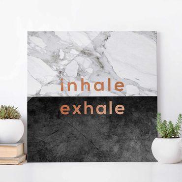 Glasbild - Inhale Exhale Kupfer und Marmor - Quadrat