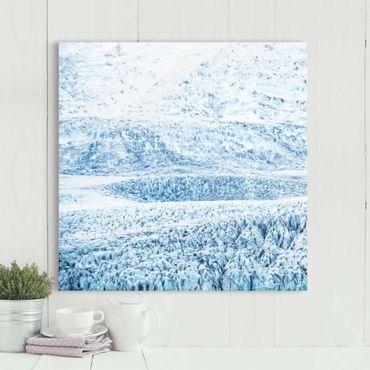 Glasbild - Isländisches Gletschermuster - Quadrat