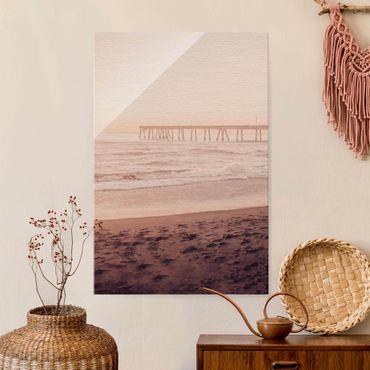 Glasbild - Kalifornien Halbmond Küste - Hochformat