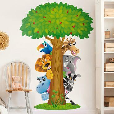 Wandtattoo Tiere Zoo Löwe Giraffe Elefant Baum Dschungel - No.BF1 Dschungeltiere