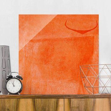 Glasbild - Oranger Stier - Quadrat