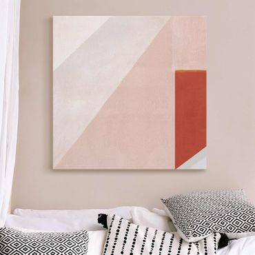 Glasbild - Rosa Geometrie - Quadrat