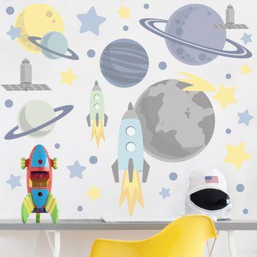Wandtattoo - Rakete und Planeten