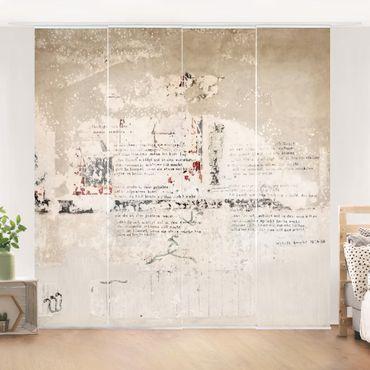 Schiebegardinen Set - Alte Betonwand mit Bertolt Brecht Versen - Flächenvorhänge