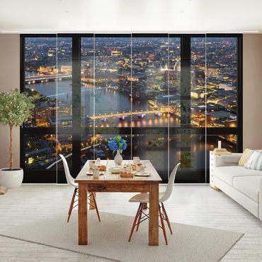 Schiebegardinen Set - Fensterblick auf Londons Skyline mit Brücken - Flächenvorhänge