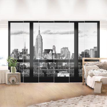 Schiebegardinen Set - Fensterblick New York Skyline schwarz weiß - Flächenvorhänge
