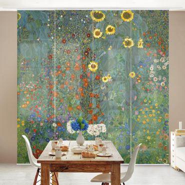 Schiebegardinen Set - Gustav Klimt - Bauerngarten mit Sonnenblumen - Flächenvorhänge