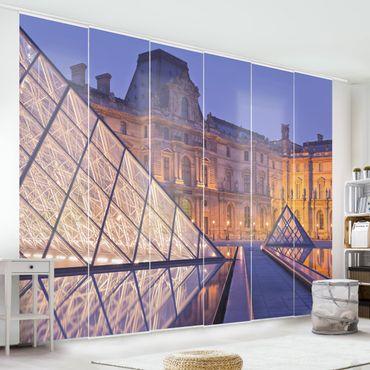 Schiebegardinen Set - Louvre Paris bei Nacht - Flächenvorhänge