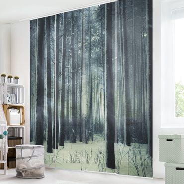 Schiebegardinen Set - Mystischer Winterwald - Flächenvorhänge