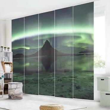 Schiebegardinen Set - Polarlicht in Island - Flächenvorhänge