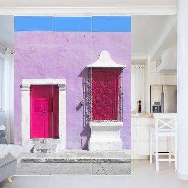 Schiebegardinen Set - Rosa Fassade Pinke Tür - Flächenvorhänge