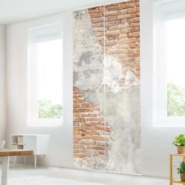 Schiebegardinen Set - Shabby Backstein Wand - Flächenvorhänge