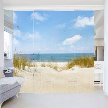 Schiebegardinen Set - Strand an der Nordsee - Flächenvorhänge