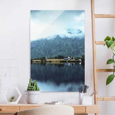 Glasbild - Spiegelung auf den Lofoten - Hochformat