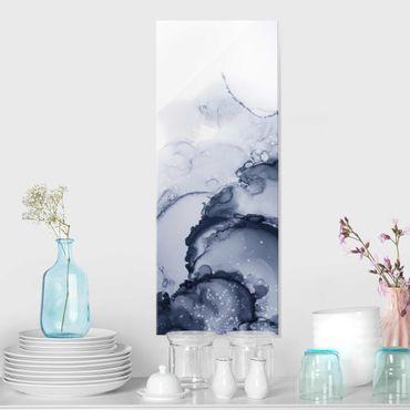 Glasbild - Spiel der Farben Blaue Tusche - Hochformat