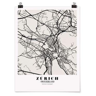 Poster - Stadtplan Zürich - Klassik - Hochformat 3:4