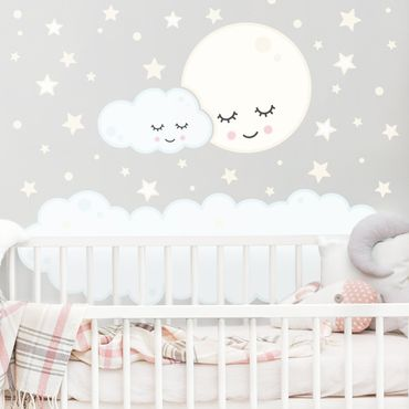 Mehrfarbiges Wandtattoo - Sterne Mond Wolke mit schlafenden Augen