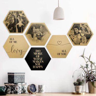 6-teiliges Hexagon Bild Alu-Dibond gebürstet Gold selbst gestalten