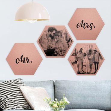 4-teiliges Hexagon Bild Alu-Dibond gebürstet Kupfer selbst gestalten