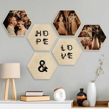 6-teiliges Hexagon Bild Holz selbst gestalten