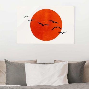 Glasbild - Vogelschwarm vor roter Sonne I - Querformat 2:3