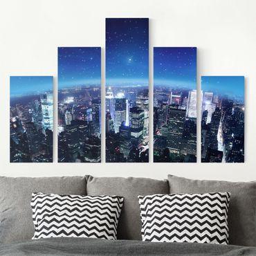 Leinwandbild 5-teilig - Illuminated New York