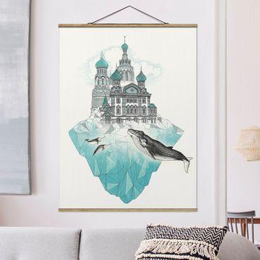 Stoffbild mit Posterleisten - Laura Graves - Illustration Kirche mit Kuppeln und Wal - Hochformat 4:3