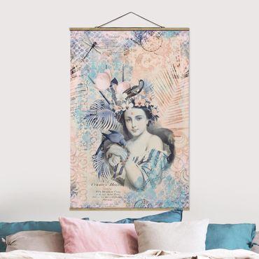 Stoffbild mit Posterleisten - Vintage Collage - Exotische Schönheit - Hochformat 3:2