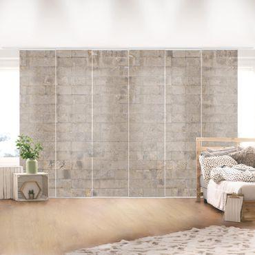 Schiebegardinen Set - Ziegel Beton - Flächenvorhänge