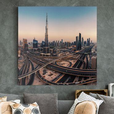 Leinwandbild - Abendstimmung in Dubai - Quadrat 1:1
