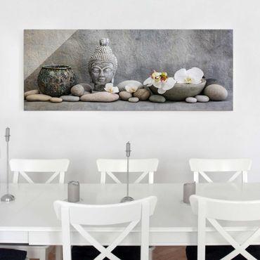 Glasbild - Zen Buddha mit weißen Orchideen - Panorama