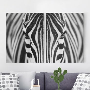 Leinwandbild 2-teilig - Zebra Look - Hoch 3:4