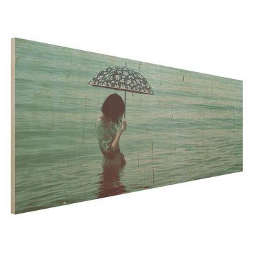 Holzbild - Spaziergang im Wasser - Panorama