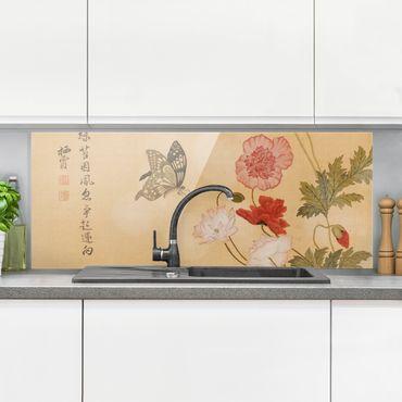 Spritzschutz Glas - Yuanyu Ma - Mohnblumen und Schmetterlinge - Panorama - 5:2