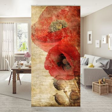 Raumteiler - Poppy Flower 250x120cm