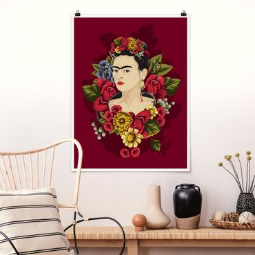 Poster - Frida Kahlo - Rosen - Hochformat 3:4